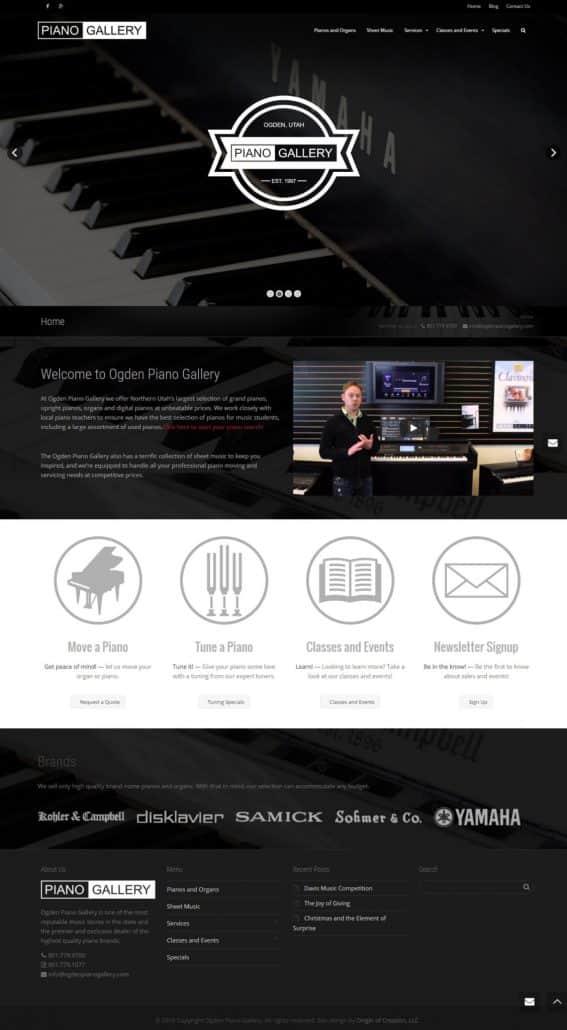 Ogden Piano Gallery website design layout