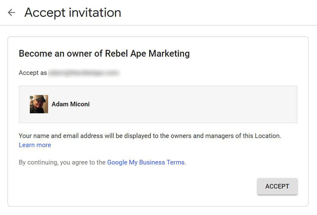 Google My Business Accept Invite